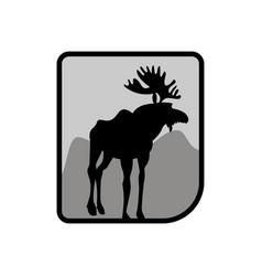 Moose logo deer emblem animal with horns wild vector
