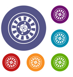 casino gambling roulette icons set vector image