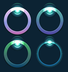 Set of glowing round sliders element for web vector