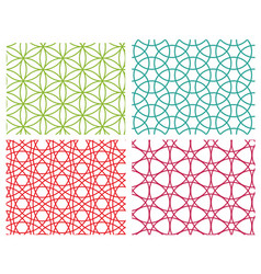 Set of geometric circle line seamless pattern vector