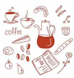 Morning coffee funny doodles set vector