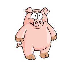 Fat happy pink cartoon pig vector image