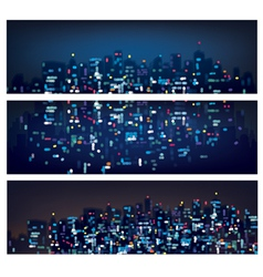 city banners night vector image