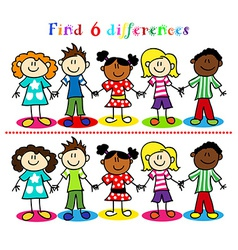 Difference game with kids stick figures vector image