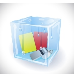Ice cube with soccer set vector image