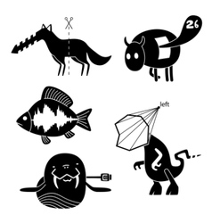 Crazy animals vector