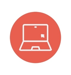 Laptop and cursor thin line icon vector