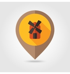 Windmill flat mapping pin icon vector