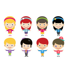 Cute cartoon boys and girls together vector