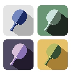 Set of colorful icons of ping pong racket vector