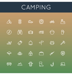 Camping line icons vector