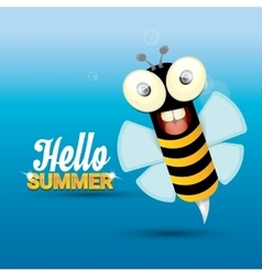 Hello summer background funny cartoons bee vector