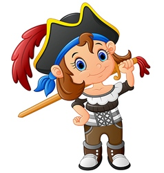 Pirate girl holding wooden sword vector
