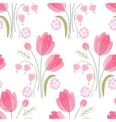 Seamless pattern with stylized cute red tulips vector