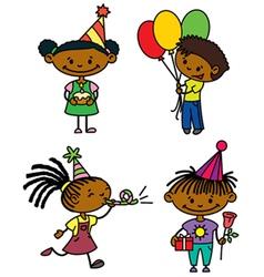 Birthday afroamerican children set vector