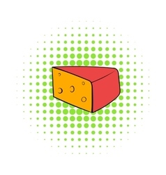 Triangular piece of cheese icon comics style vector