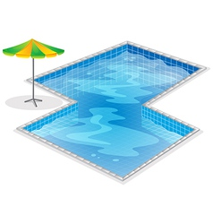 A swimming pool with a beach umbrella vector image vector image