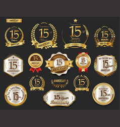 Anniversary golden laurel wreath and badges 15 vector