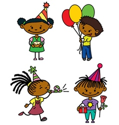 Birthday afroamerican children set vector image vector image