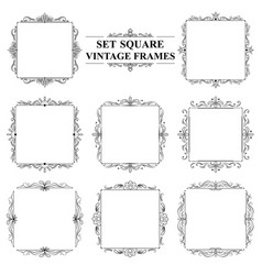 Black and white set of vintage elegant square vector