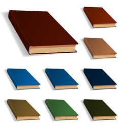 Blank books set nine different colors vector