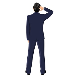Businessman back view vector image