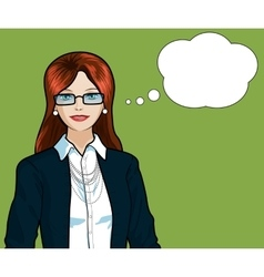 Caucasian Businesswoman pop art comic vector image vector image