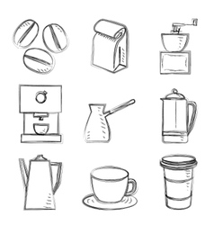 Coffee sketches vector image vector image