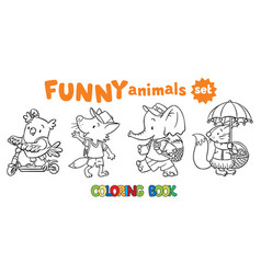 coloring book set of funny baby animals vector image vector image