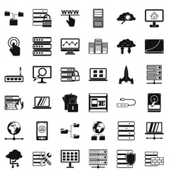Data icons set simple style vector