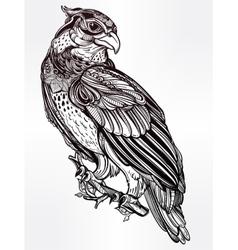 Detailed hand drawn bird of prey vector