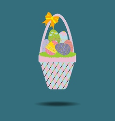 Easter Basket with eggs vector image vector image