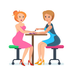 girl sitting at reception with specialist service vector image vector image