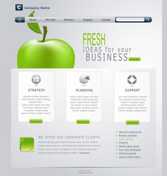grey-green website with apple vector image vector image