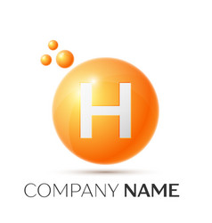 H letter splash orange dots and circle bubble vector