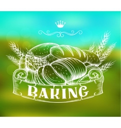 Hand drawn bakery label vector
