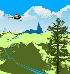 Helicopter flying over the green valley vector