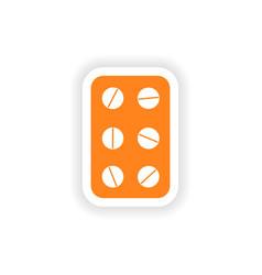 Icon sticker realistic design on paper plate pills vector