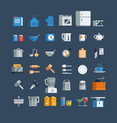 Kitchen utensils icons set vector