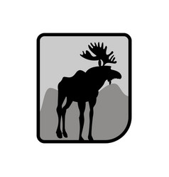 Moose logo deer emblem animal with horns wild vector