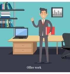 Office worker in cabinet male character cartoon vector