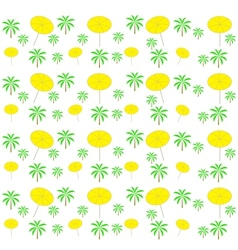 Palm trees umbrellas seamless pattern vector image