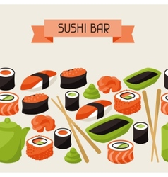 Seamless pattern with sushi vector image vector image
