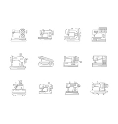 Sewing machines flat line icons set vector image