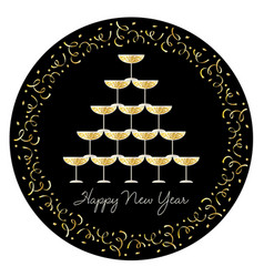stacked champagne glasses with confetti frame vector image vector image