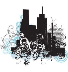 urban floral grunge city vector image