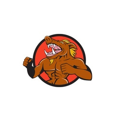 Wild boar man roaring pumping chest circle cartoon vector