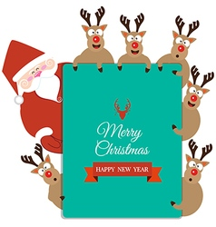 Santa claus and reindeer present christmas card vector