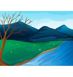 River and mountains vector