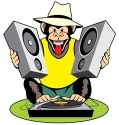 Monkey disc-jockey vector